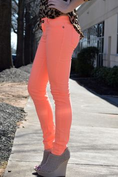 50% OFF! $16 (was:$32) Glam Party Skinny Jeans (Neon Orange) – Girly Girl Boutique