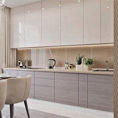 Modern Kitchen Interiors, Luxury Kitchen Design, Kitchen Room Design, Modern Kitchen Cabinets, Interior Modern, Kitchen Layout, Home Decor Kitchen, Interior Design Kitchen, Home Design
