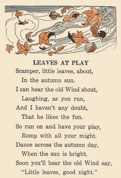 "Leaves at Play Old Wind has a very jolly face in this image. ""Adventures in Storyland, A Second Reader"" by Frances Lilian Taylor. Published by Beckley-Cardy Co. of Chicago, 1930. Illustrated by Clara Atwood Fitts"