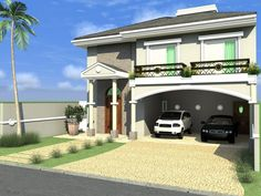 casa sobrado arquitetura clássica neoclássica telhado aparente terreno 12x25 240 metros construção