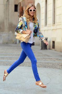 Blue denim floral jacket look... TheBlondeSalad