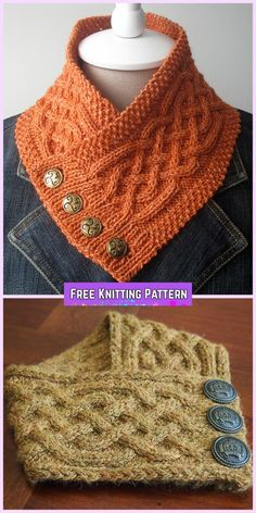 Knit Celtic Cable Neckwarmer Scarf Free Knitting Pattern Free Scarf Knitting Patterns, Knitting Ideas, Crochet Cowl Patterns, Free Knitting, Knitting Yarn, Knitting Needles, Knitting Projects, Shawl Patterns, Baby Knitting