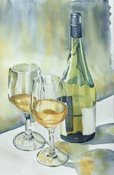 Mmmm Good Wine Watercolor Projects, Watercolour Painting, Painting & Drawing, Watercolor Beginner, Wine Painting, Watercolor Architecture, Still Life Drawing, Wine Art, Art Plastique