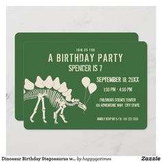 Dinosaur Birthday Stegosaurus with Balloons Invitation Dinosaur Birthday Invitations, Dinosaur Birthday Party, Mermaid Birthday, Colorful Birthday Party, Colorful Party, Balloon Invitation, Prehistoric Dinosaurs, Envelope Liners, Custom Invitations