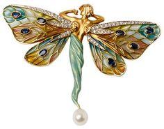 Masriera Sapphire Diamond & Pearl Fairy Brooch