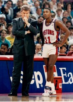 Pistons head coach Chuck Daly, left, and Isiah Thomas consult on the sidelines Oct. The Detroit News Detroit Sports, Detroit News, Westbrook Nba, Russell Westbrook, Bad Boy Pistons, Kobe Bryant Lebron James, Indiana Pacers, Larry Bird, Detroit Pistons