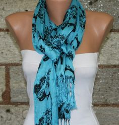 Blue  Skull Scarf   Fabric Large Skulls  by fatwoman, $10.00
