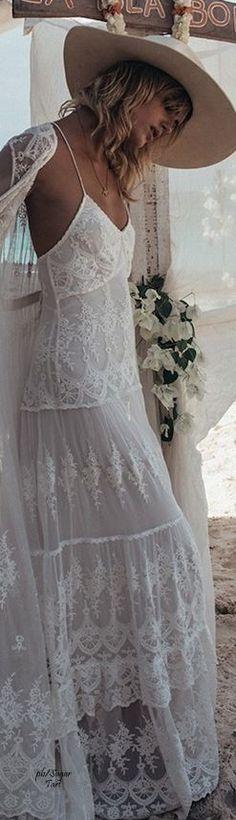 #boho #fashion #spring #outfitideas  Boho 70's feminine white lace maxi dress