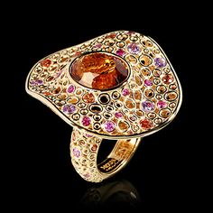 Mousson atelier, collection Bubbles, ring, Yellow gold 750, Citrine 9,41 ct., Multicolored sapphires