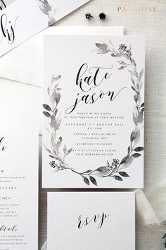 Claudia Wreath Wedding Invitation Sets, Monogram Invitation Sets, Invitations Printable or Printed Wedding Stationery Belly Bands Invitation