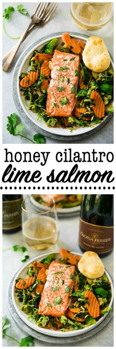 This Honey Cilantro Lime Salmon is simple, delicious and perfect for an easy family meal as well as impressive enough for a dinner party. Serve with Gloria Ferrer for a real stunner! via @kimscravings