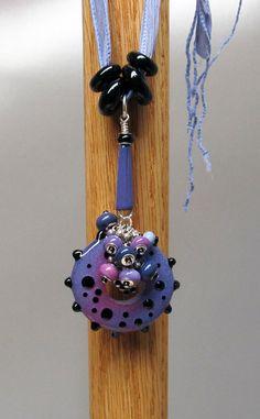 Pretty Pink & Purple Fandangle Big Holed Slider Tassel Pendant Necklace $69