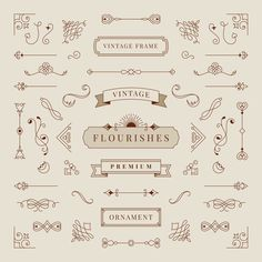 Collection of vintage ornament frame illustration Free Vector Wedding Icon, Free Banner, Free Frames, Label Design, Logo Design, Vintage Ornaments, Vintage Santas, Free Graphics, Vintage Labels