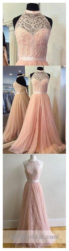 2018 Blush Pink Halter Lace Beaded Long Custom Evening Prom Dresses, 17412