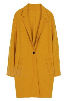 ROMWE Lapel Single-breasted Loose Belted Yellow Coat