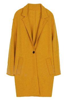 ROMWE | ROMWE Lapel Single-breated Loose Belted Yellow Coat, The Latest Street Fashion