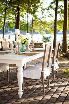 Outdoor Dinner Party, Chair Seat Cover www.chairapron.com