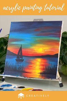 Simple Canvas Paintings, Diy Canvas Art, Acrylic Painting Canvas, Acrylic Landscape Painting, Acrylic Painting Lessons, Beach Sunset Painting, Sunset Paintings, Sailboat Painting, Canvas Painting Tutorials