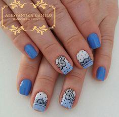 Round Nail Designs, French Nail Designs, Love Nails, Pretty Nails, Linda Nails, Nail Art Printer, Cherry Blossom Nails, Galaxy Nails, Round Nails