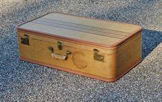 1940s Large Striped #Tweed #Suitcase, Tan Black Tweed Hardsided Luggage, #Wedding Decor, Hardsided - SOLD! :)