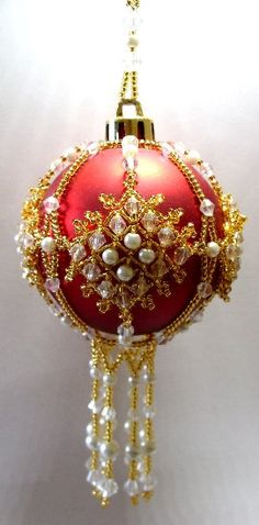 Bead Pattern Only Beaded Buckingham Christmas Ornament Cover for sale online Christmas Ornaments To Make, Handmade Christmas, Christmas Crafts, Beaded Ornament Covers, Beaded Ornaments, Xmas Decorations, Beading Patterns, Doily Patterns, Dress Patterns