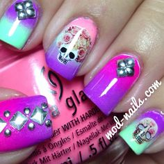 Ombre pink and purple skulls flowers and decals nails manicure Neon Nails, Uv Gel Nails, Nail Manicure, Love Nails, Pretty Nails, My Nails, Gel Manicures, Fancy Nails, Skull Nail Art