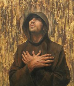 I've no idea who the artist is - Beautiful depiction of St. Francis of Assisi though.