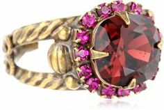 """Sorrelli Pink Orchid"""" Pave Encircled Cushion Cut Crystal Gold-Tone Adjustable Ring"""