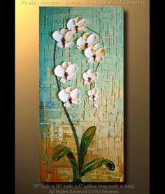 Orchid Original Contemporary Textured Oil Floral by Artcoast, $280.00