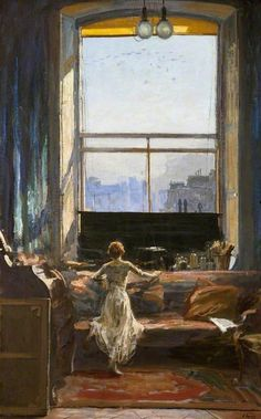 birdsong217:  Sir John Lavery - Daylight Raid from My studio Window, 7th July, 1917.  Beautiful, enormous interior space!