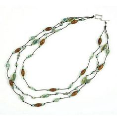 Three Strand Green Necklace on Leather Cord