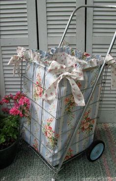 Inspiration-- - Vintage Flea Market Cart and New Custom Liner - Simply Shabby Chic - Pink Barefoot Roses Simply Shabby Chic, Shabby Chic Pink, Vintage Shabby Chic, Sewing Crafts, Sewing Projects, Craft Projects, Project Ideas, Flea Market Style, Granny Chic