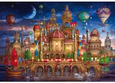 New Schmidt Moated Castle by Ciro Marchetti 2000 piece fantasy jigsaw puzzle Fantasy Castle, Fantasy Art, Tarot Decks, Wooden Jigsaw Puzzles, Kitsch, Step By Step Painting, Canvas Prints, Art Prints, Mosaic Patterns