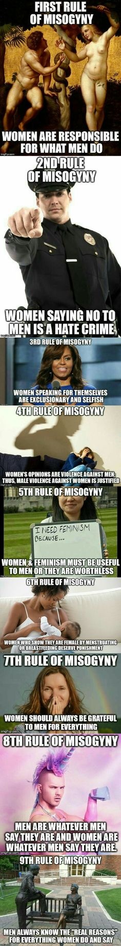 Rules of misogyny | all of these are ridiculous and asinine and completely accurately describe misogynist attitudes toward women
