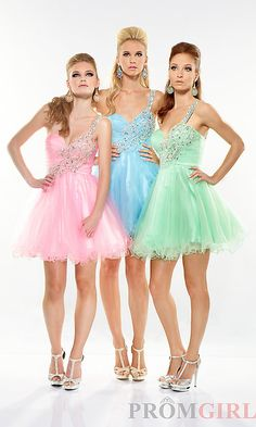 Pink, green and blue grad dresses short