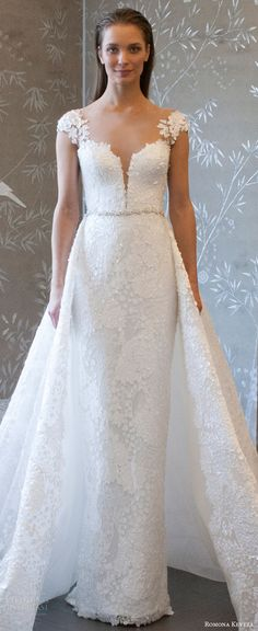 romona keveza spring 2018 bridal cap sleeves split sweetheart neckline lace sheath wedding dress (rk8409) zv romantic elegant detachable a line cathedral train