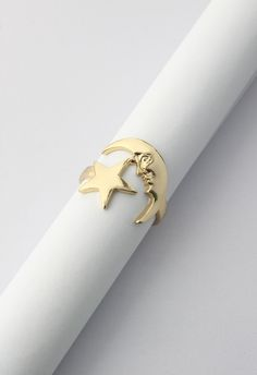 Moon and Star Golden Ring - Accessory - Retro, Indie and Unique Fashion
