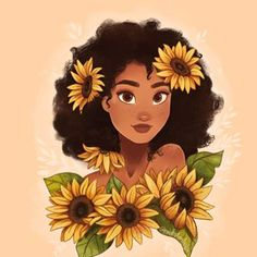 Hi jellybeans, I started this drawing before it began snowing where I live and as much as I find snow days fun, I still miss summer a lot. This is inspired by photo w/ 💛🌻 // Art And Illustration, Sunflower Illustration, Illustrations, Cartoon Kunst, Cartoon Drawings, Cute Drawings, Black Love Art, Black Girl Art, Bd Art