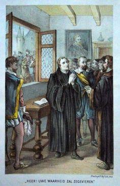 Maarten Luther - Heer, uwe Waarheid zal Zegevieren  Grafic : litho from : de Groote Hervormers Size Picture : 14 x 23,5 cm Year : + 1880 Uitgev. : Tresling & Co-Lith-Amsterdam