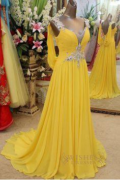 A-line V Neck Yellow Chiffon Long Formal/ Evening/ Prom Dresses AM292