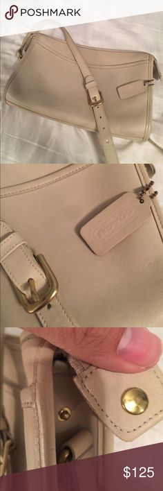Vintage Coach Crossbody Excellent Condition This bag is from the glory days of old world, high quality coach production.  Made in the USA!!  It's very functional and spacious. It's in a gorgeous, cream/ white leather crossbody with tons of space!  The perfect every day Bag for a stylish woman on the go!  It is in excellent pre-owned, vintage condition with some light blemishes to the exterior leather.  The interior and hardware also show some light wear.  Get this deal while you can!  I'll…