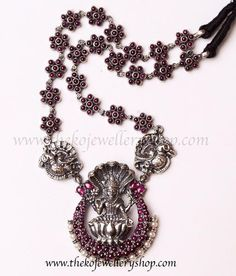 Silver Jewelry This Sterling Silver temple jewellery necklace carries an unusual motif in its pendant. Sterling Necklaces, Silver Necklaces, Sterling Silver Jewelry, Silver Earrings, Silver Ring, Earrings Uk, 925 Silver, Silver Cuff, Pandora Necklace
