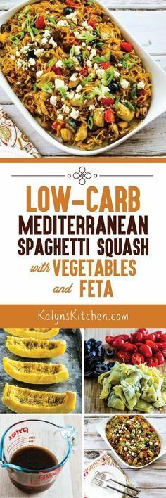 This Low-Carb Mediterranean Spaghetti Squash Sauteed with Vegetables and Feta is a real treat whether or not you're limiting carbs, and this delicious dish is also gluten-free, South Beach Diet friendly, and it could easily be Paleo if you skip the cheese Low Carb Recipes, Vegetarian Recipes, Cooking Recipes, Healthy Recipes, Vegetarian Cooking, Dash Diet Recipes, Vegetarian Italian, Going Vegetarian, Free Recipes
