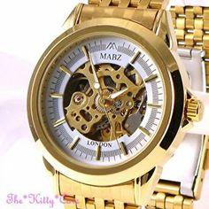 Automatic Mechanical Skeleton Steampunk 2tone Gold Gents Men Ladies Unisex Watch
