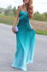 Chic Strapless Sleeveless Ombre Maxi Dress For Women (AZURE,XL) | Sammydress.com Mobile