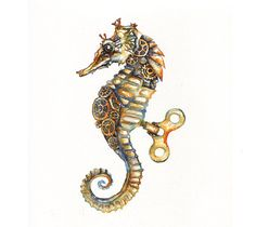 Steampunk Seahorse Original Painting 12x9 by MiraPau on Etsy