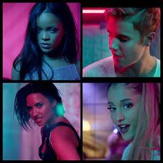 Justin Bieber, Rihanna, Demi Lovato and Ariana Grande