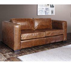 Un canapé en cuir vieilli, Maisons du monde