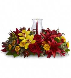 Glow of Gratitude Centerpiece in South Bend IN, Country Florist & Gifts, Inc. #flowers