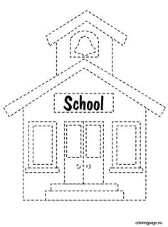 School House Coloring Page New Back to School Tracing – Coloring Page Ways Of Learning, Kids Learning Activities, School Coloring Pages, Coloring Pages For Kids, Diy Back To School, School School, All About Me Preschool, School Labels, Preschool Themes